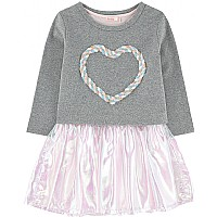 Grey and Tulle Heart Dress by Billieblush