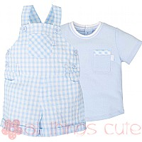 Blue Gingham Dungarees & T-shirt Set by Tutto Piccolo