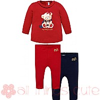 Red Teddy Bear Top and Leggings Set by Mayoral