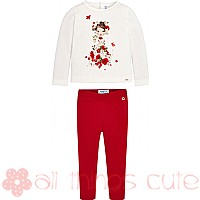 White and Red Girl and Flowers Top and Leggings by Mayoral