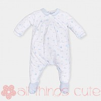 White and Sky Blue Babygrow By Tutto Piccolo