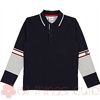 Navy Cotton Long Sleeve Polo Top by BOSS Kids
