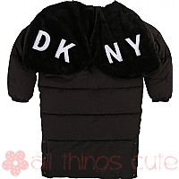 Black Padded Parka Coat by DKNY