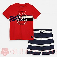 Red & Navy Stripe Set by Mayoral