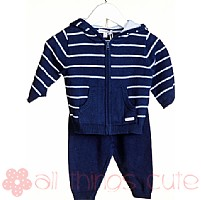 Boys Navy Striped Knitted Tracksuit By Blues Baby
